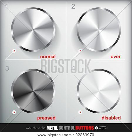 Set Of Four Positions Of Cicle Empty Metal  Button.