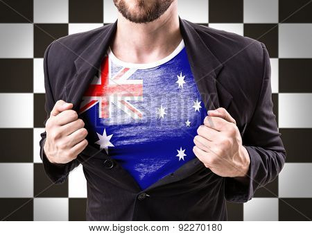 Businessman stretching suit with Australia Flag on checkered background