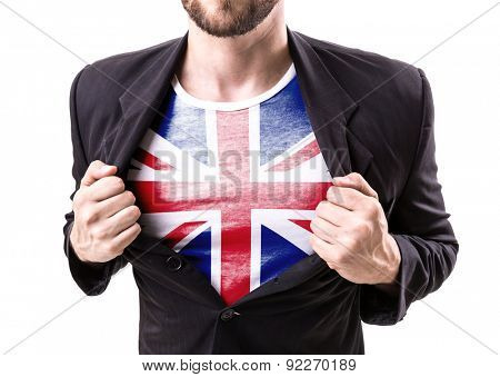 Businessman stretching suit with United Kingdom Flag on white background