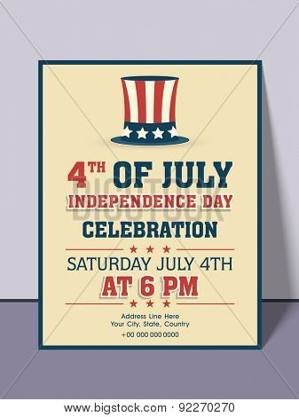 4th of July, American Independence Day celebration invitation card with date, time and place details.