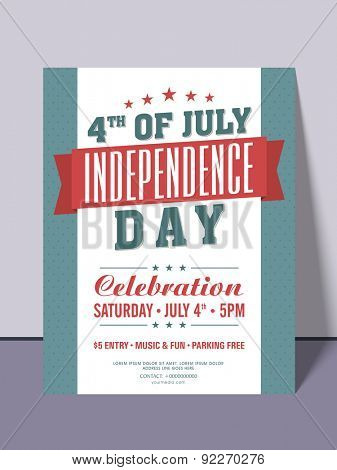 Stylish invitation card for 4th of July, American Independence Day party celebration.
