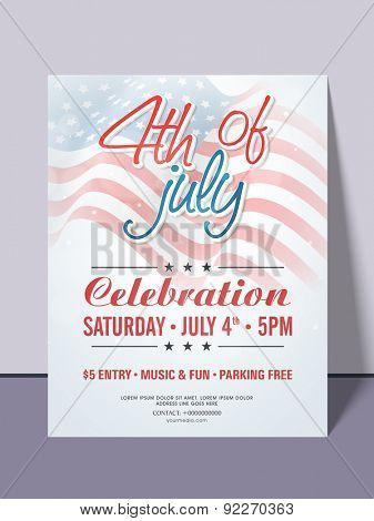 Beautiful invitation card for 4th of July, American Independence Day party celebration with date, time and place details.