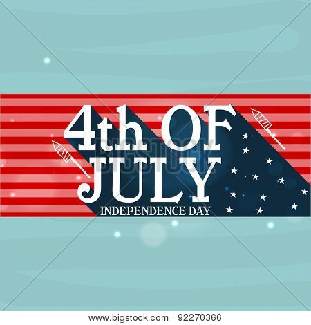 Stylish text 4th of July for American Independence Day celebration, can be used as poster, banner or flyer design.