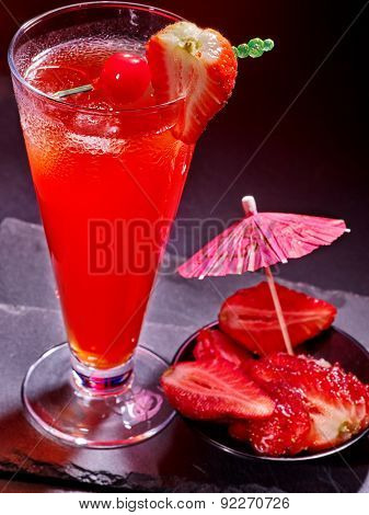 Strawberry cocktail with cherry and pineapple in highball glass . Cocktail card 60.