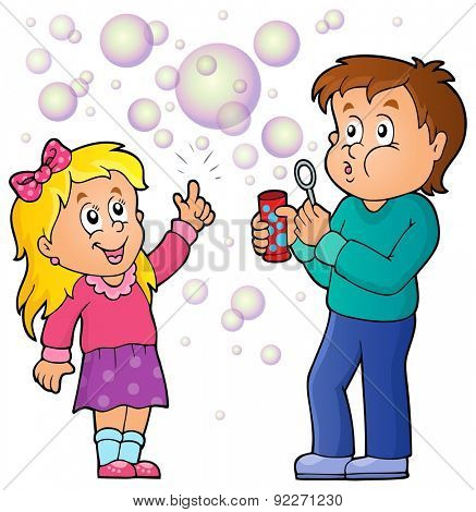 Children playing with bubble kit theme 1 - eps10 vector illustration.