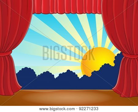 Stage with abstract sun 7 - eps10 vector illustration.