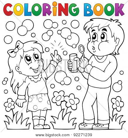 Coloring book children with bubble kit - eps10 vector illustration.
