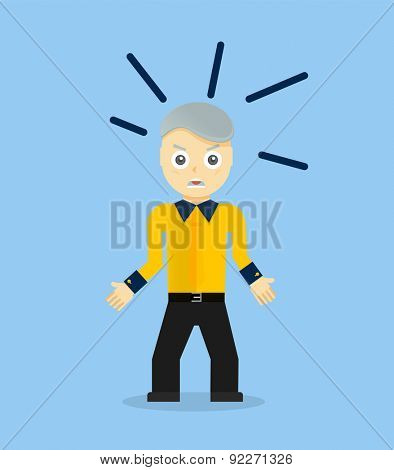 Angry young cartoon businessman or office worker. Flat design. Vector illustration