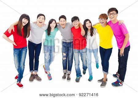 Full Length Of Happy Young Student Group
