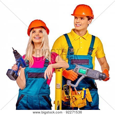 Group people builder  with construction tools. Isolated.