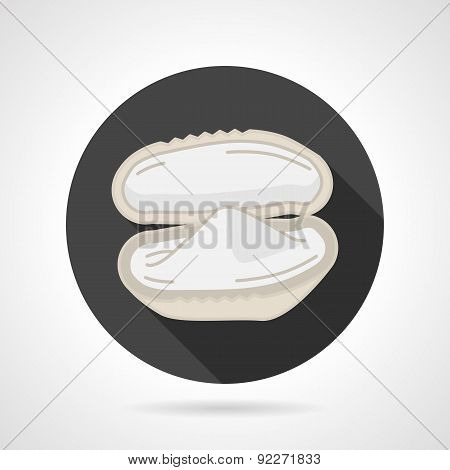 Mussel black round vector icon