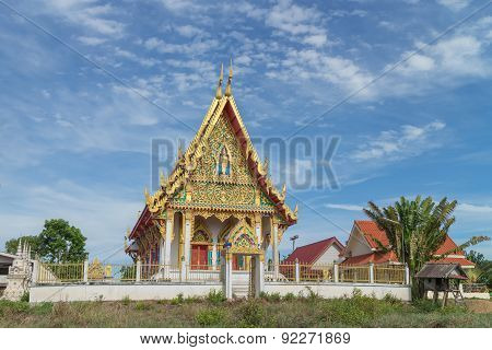 the ancient temple with sky background