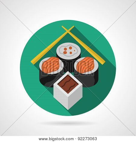Sushi set green round vector icon