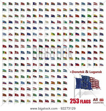 World Flags Icon Set Collection - All Sovereign States / Countries In Vector - 2015
