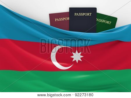 Travel and tourism in Azerbaijan, with assorted passports