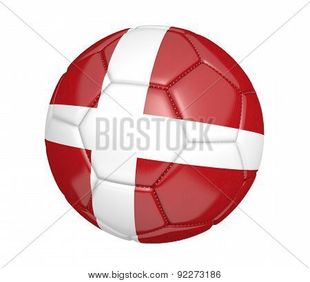 Soccer ball, or football, with the country flag of Denmark