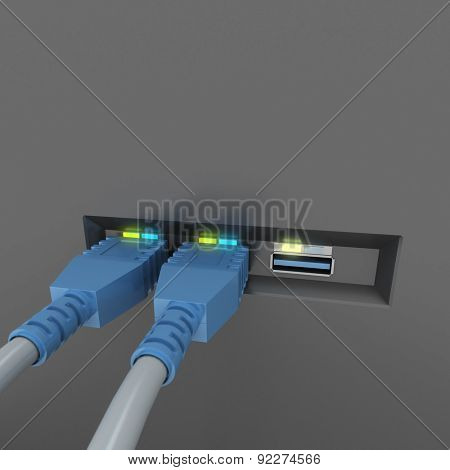 3D rendering of USB cables connected to a device