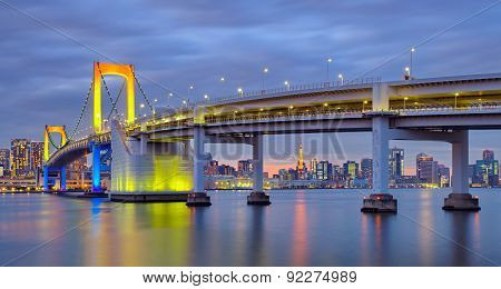 Tokyo rainbow bridge and Tokyo tower at twilight time