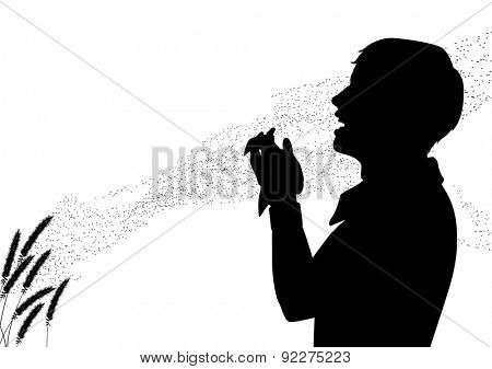 Illustrated silhouette of pollen drifting from grass flowers with a man suffering from hay fever sneezing