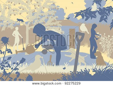 Cutout illustration of a family gardening with two puppies and wildlife