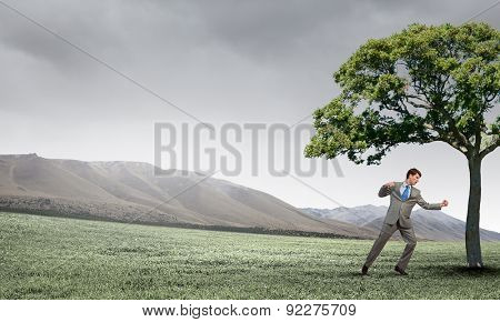 Young businessman in anger fighting with green tree