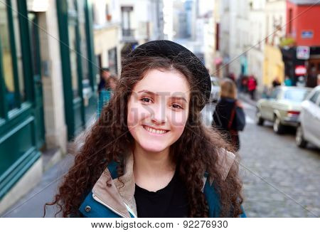 Close-up Portrait Of Beautiful Girl In The City