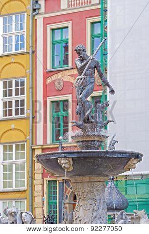 Neptun Monument In Gdansk, Poland.