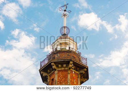 Old Lighthouse With Time Ball At The Top In Gdansk, Poland.