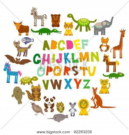 alphabet for kids from A to Z. Set of funny cartoon animals character. zoo on white background. Vect