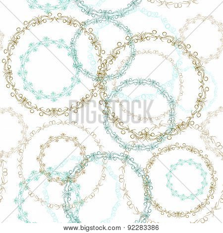 Vintage seamless patern, blue brown circle on white background. Vector