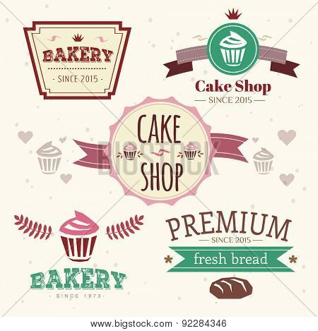 Abstract vector cakes logo elements for food design
