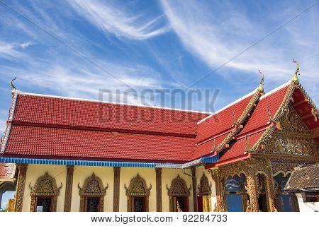 Thai temple roof with blue sky at Phra Borommathat temple Tak Province ,Thailand.