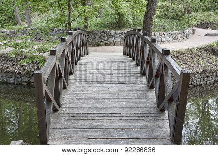 Wooden Bridge Over A Small River In Sophia Park In Uman