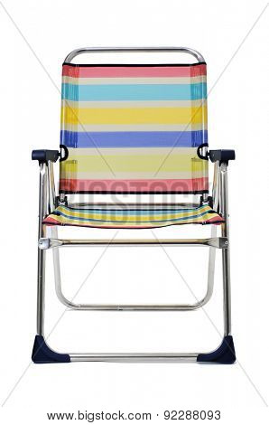 a foldable beach chair with stripes of different colors, on a white background