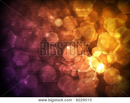 light spots and polygons in a beautiful orange-violet tones