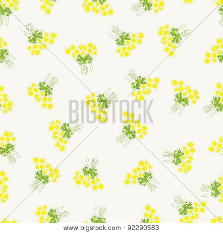 Pattern With Chamomile Bouquets