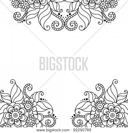 Black flower frame, lace ornament