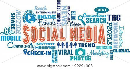 Social Media Word and Icon Collage
