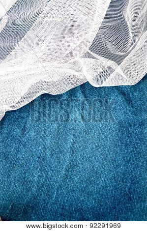 Blue Background With White Mesh