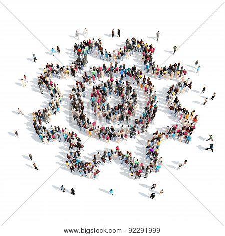 people in the shape of gears.