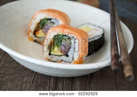 Close Up Sushi On Dish