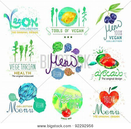Watercolor set of badges, labels,logo, vegan food, vegan, vegetables and herbs.