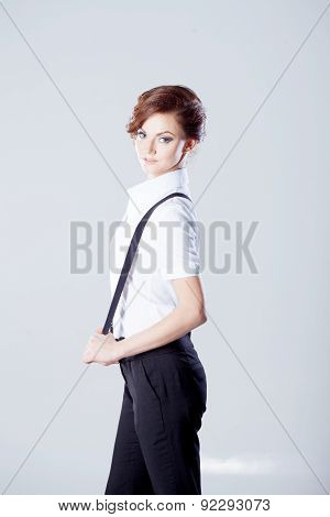 Successful Business Woman, In Shirt On White Background, Vertical Frame