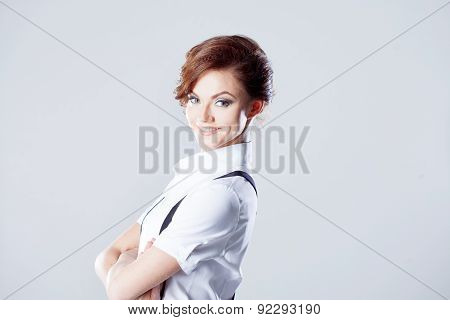Successful Business Woman, In Shirt On White Background