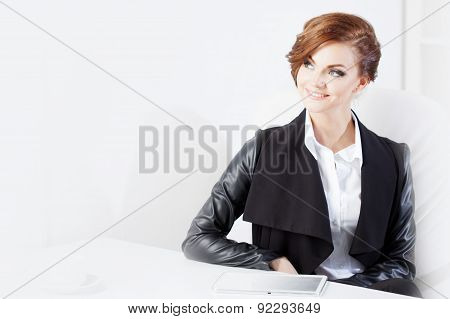 Successful Business Woman Looking Confident And Smiling, Place For Text On The Left