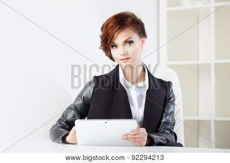 Successful Business Woman With Tablet In Hand