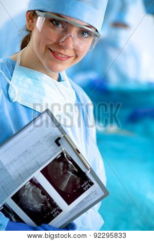 Female surgery in the operating room