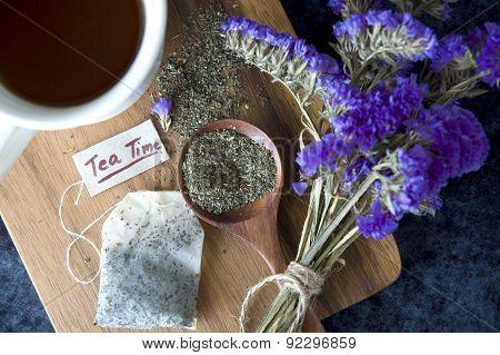 Peppermint Tea On Wooden Board