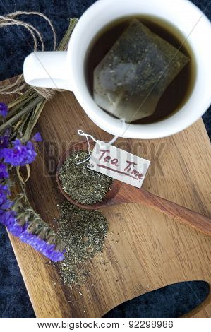 Tea Cup With Tea Time Tag
