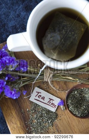 Top View Of Tea Time Tag With Tea Cup